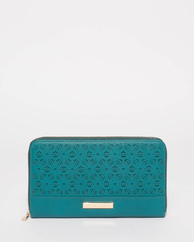 Teal Flower Pattern Travel Wallet