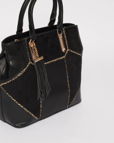 Black Alicia Multi Panel Tote Bag
