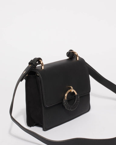 Black Amelia Saddle Crossbody Bag