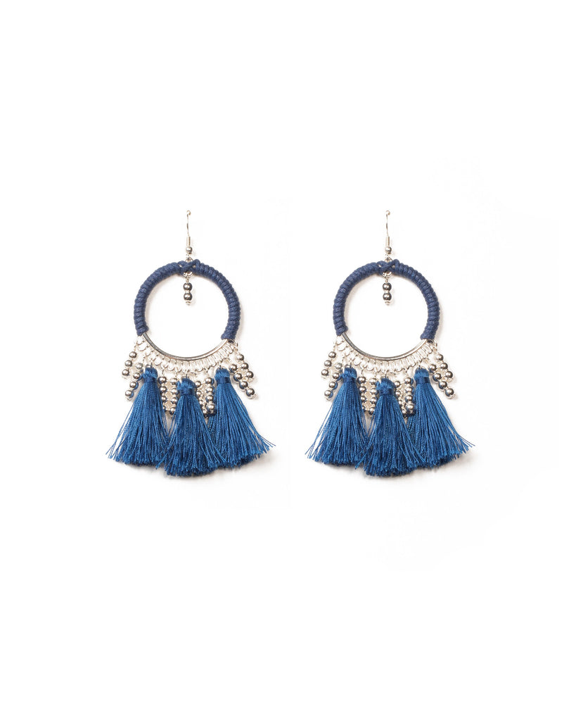 Blue Silver Tone Third Loop Tassel Earrings