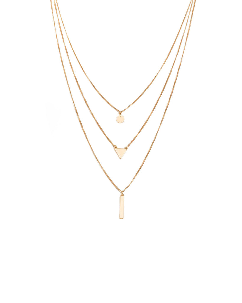 Gold Tone Geometric Shape Metal Layered Necklace
