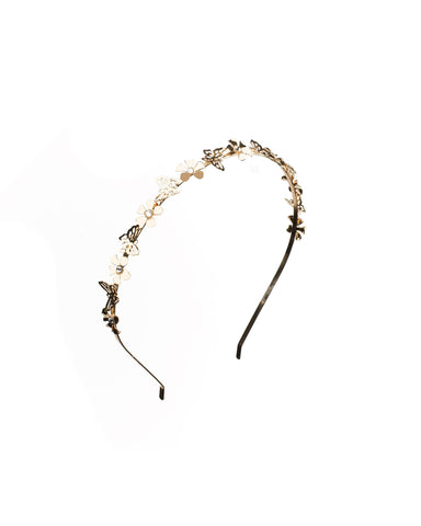 Crystal Gold Tone Fine Metal Floral Headband