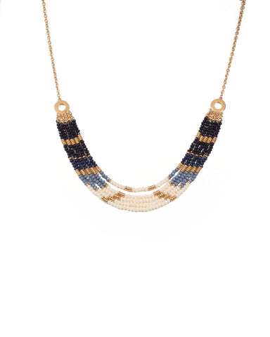 Blue Gold Tone Beaded Multi Row Necklace