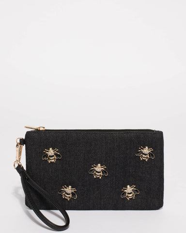 Black Denim Brook Bug Pin Purse