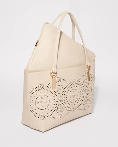 Ivory Angelina Punch Out Tote Bag