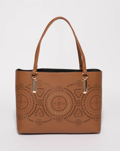 Brown Angelina Punch Out Tote Bag