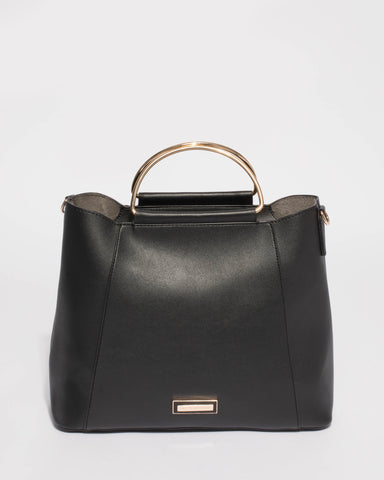 Black Ciara Large Panel Tote Bag