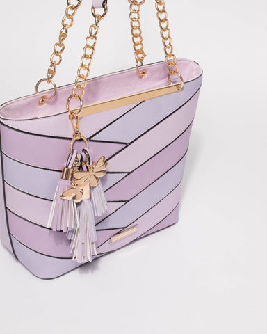 Purple Makayla Panelled Tote Bag