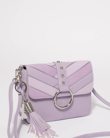 Purple Amara Panel Stud Crossbody Bag