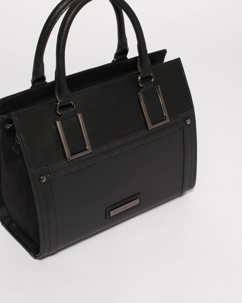 Black Ella Square Medium Tote Bag