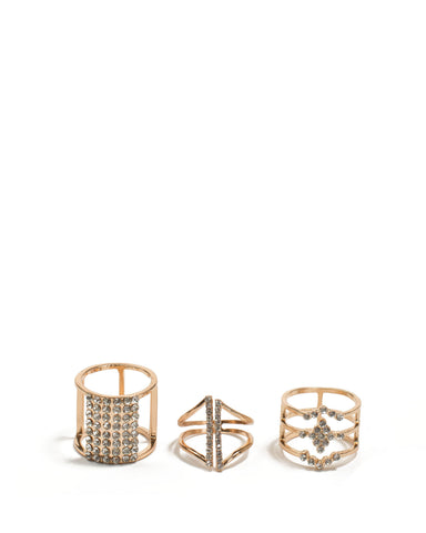 Gold Tone Diamante Wrapped Ring Pack - Medium
