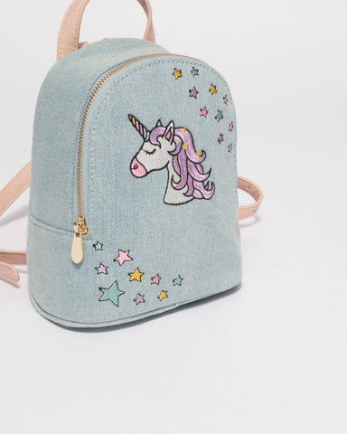 Blue Denim Kids Unicorn Backpack