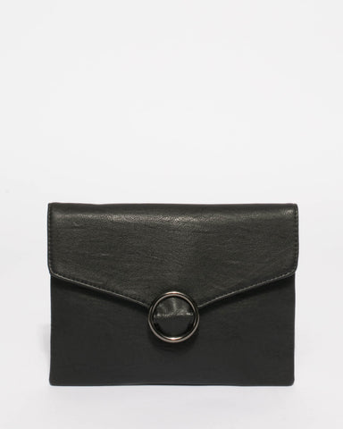 Black Ellisa Clutch Bag With Gunmetal Hardware