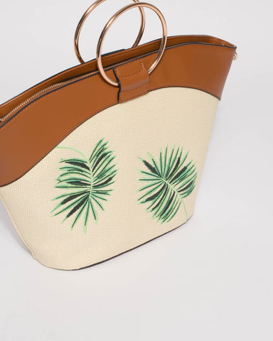 Multi Colour Palm Leave Ring Tote Bag