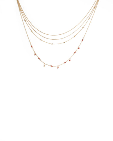 Red Gold Tone Fine Layer Metal Necklace