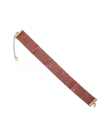 Red Gold Tone Diamante Choker Necklace