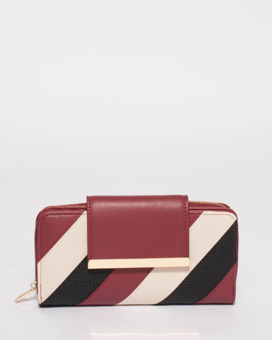 Burgundy Multi Colour Blake Side Panel Wallet