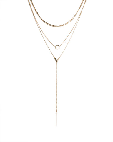 Gold Tone Metal Chain Lariat Necklace