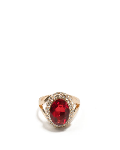 Red Gold Tone Diamante Pave Stone Cocktail Ring - Medium