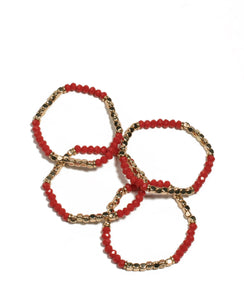 Red Gold Tone Beaded Strect Wristwear Pack