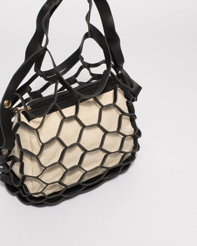 Black And Natural Summer Essential Net Bag