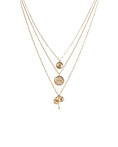 Gold Tone Coin And Cross Pendant Layer Necklace