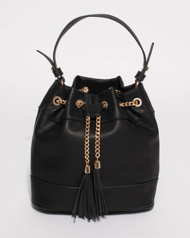 Black Giselle Chain Bucket Bag