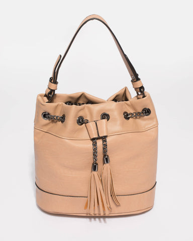 Caramel Giselle Chain Pouch Bag