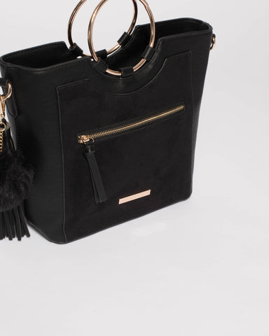 Black Bella Ring Hardware Tote Bag