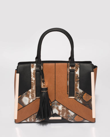 Brown And Black Darcy Large Tote Bag