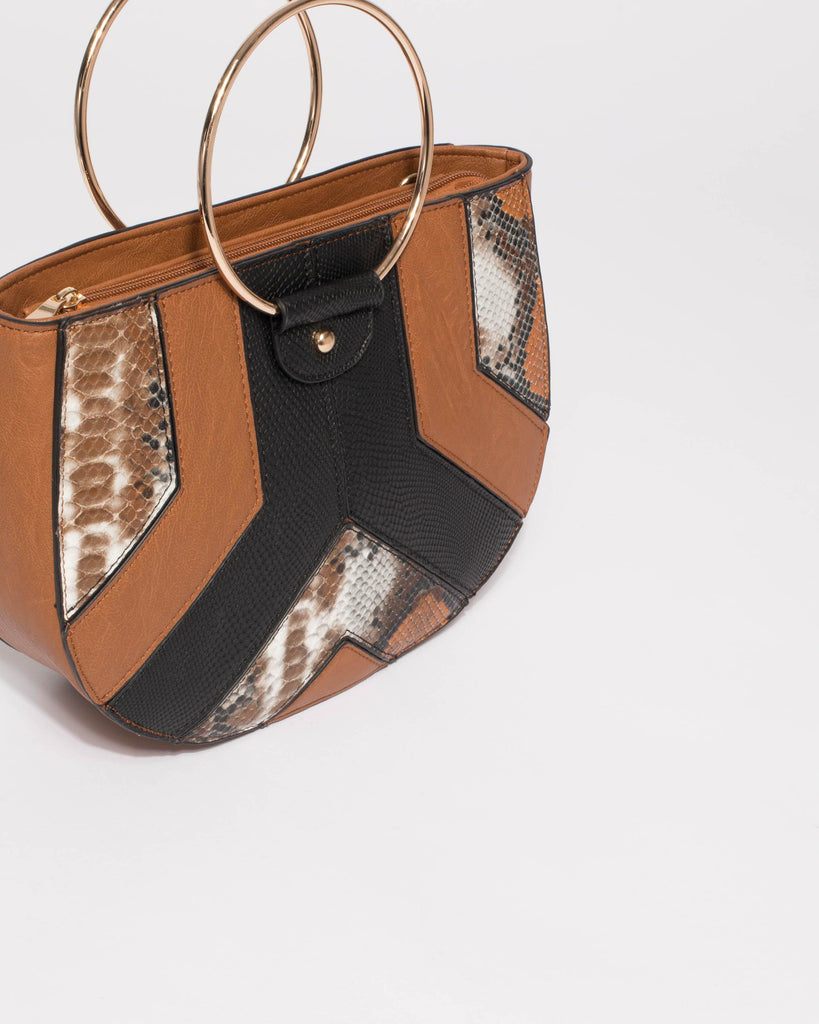 Brown And Black Missy Circle Hardware Mini Bag
