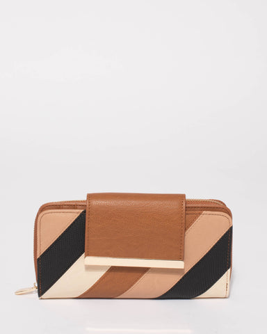 Multi Colour Blake Side Panel Wallet With Gold Hardware