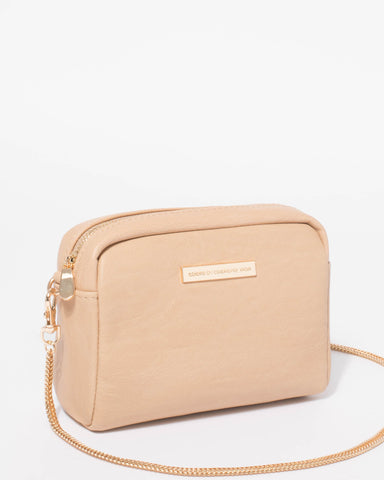 Beige Suri Crossbody Bag With Gold Hardware