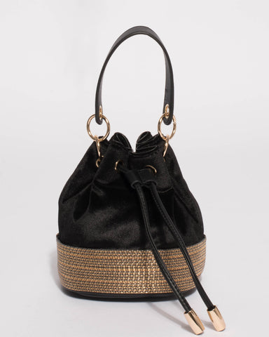 Black Anna Evening Bucket Bag
