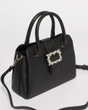 Black Mel Crystal Buckle Tote Bag
