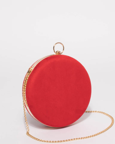 Red Alex Circle Case Clutch Bag