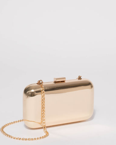 Gold Quinn Hardcase Clutch Bag