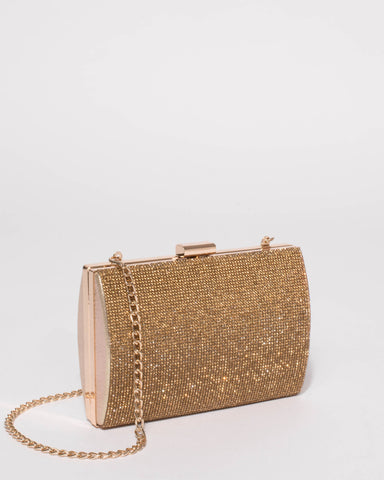 Gold Eliza Sparkle Clutch Bag