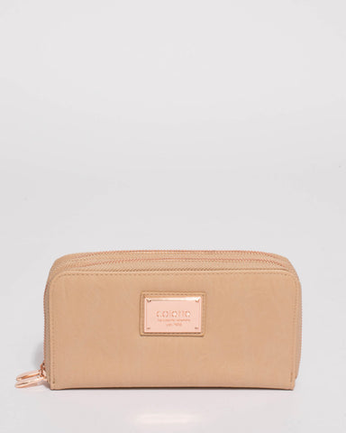 Beige Double Zip Around Wallet