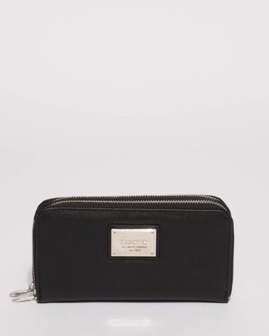 Black Double Zip Around Wallet