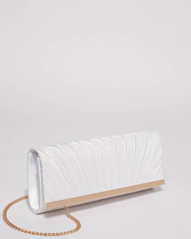 White Sasha Pleat Clutch Bag