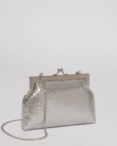 Silver Chainmail Clip Clutch Bag
