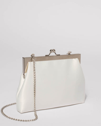 White Leila Clip Clutch Bag