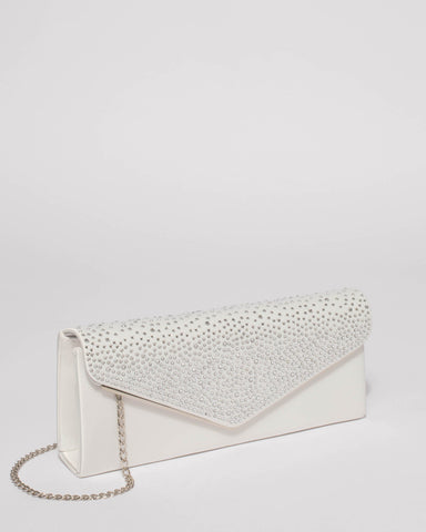 White Ella Sparkle Clutch Bag With Silver Hardware
