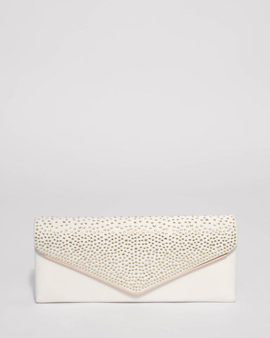 White Ella Sparkle Clutch Bag With Gold Hardware