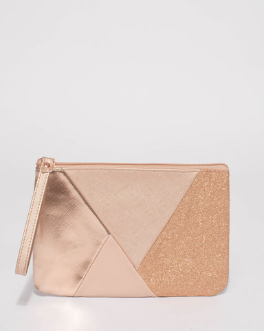 Rose Gold Molly Panel Wristlet