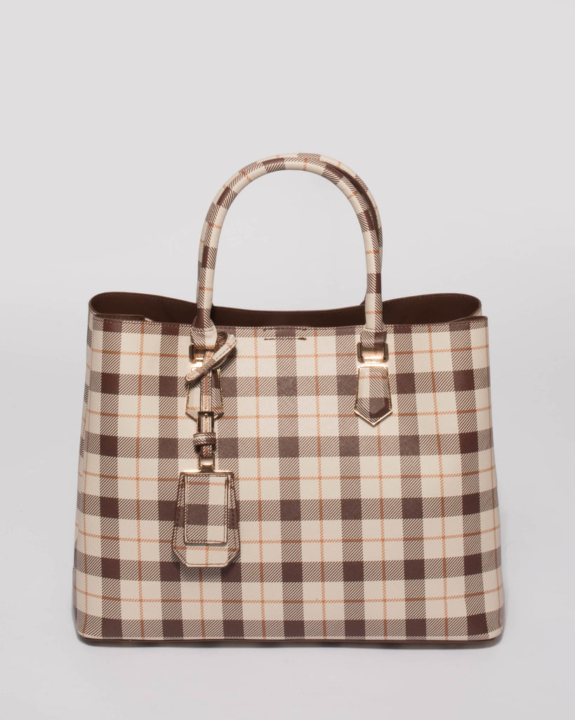Brown Tartan Plaid Tori Tag Tote Bag
