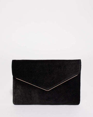Black Velvet Samantha Clutch Bag