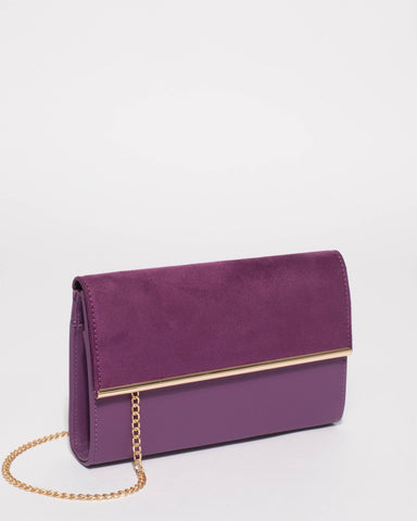 Purple Harriet Clutch Bag