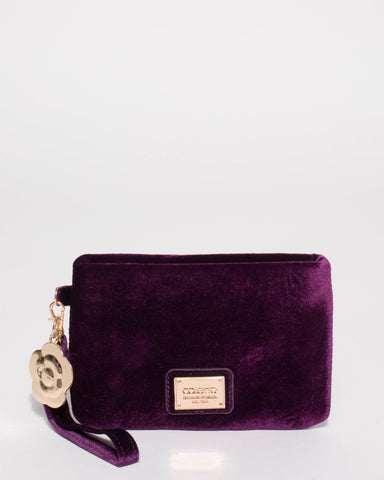 Purple Velvet Frances Flower Purse With Gold Hardware